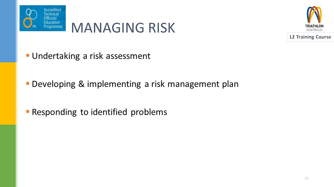  Undertaking a risk assessment  Developing & implementing a risk management plan  Responding to identified problems MANAGING RISK 19
