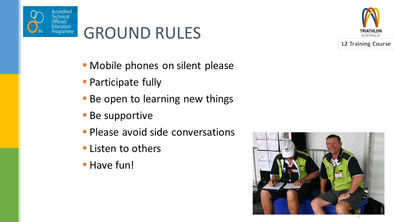 GROUND RULES  Mobile phones on silent please  Participate fully  Be open to learning new things  Be supportive  Please avoid side conversations  Listen to others  Have fun.