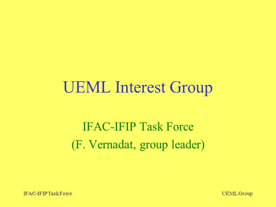IFAC-IFIP Task ForceUEML Group UEML Interest Group IFAC-IFIP Task Force (F. Vernadat, group leader)