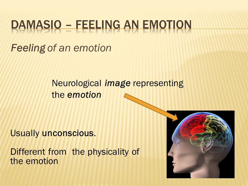 Feeling of an emotion Neurological image representing the emotion Usually unconscious. Different from the physicality of the emotion