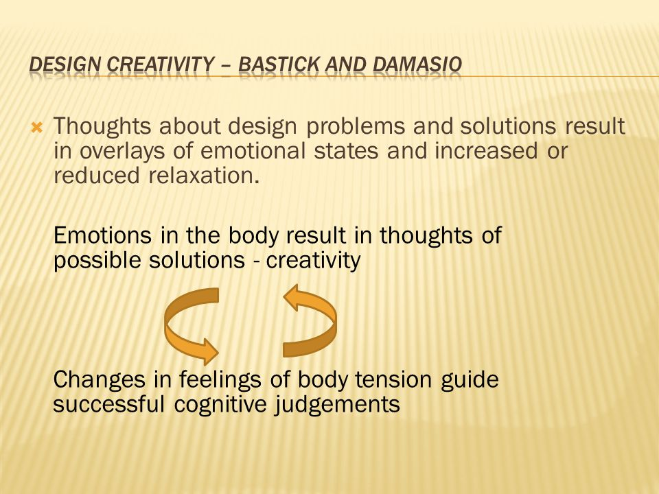  Thoughts about design problems and solutions result in overlays of emotional states and increased or reduced relaxation. Emotions in the body result