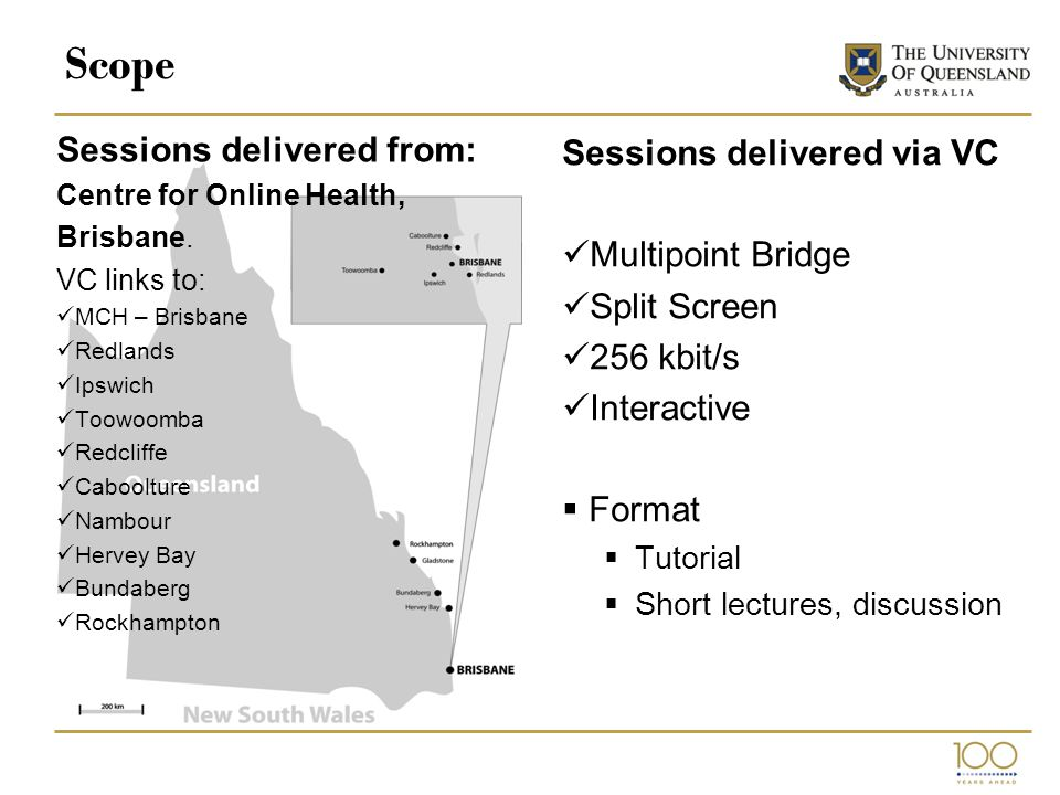 Scope Sessions delivered from: Centre for Online Health, Brisbane.