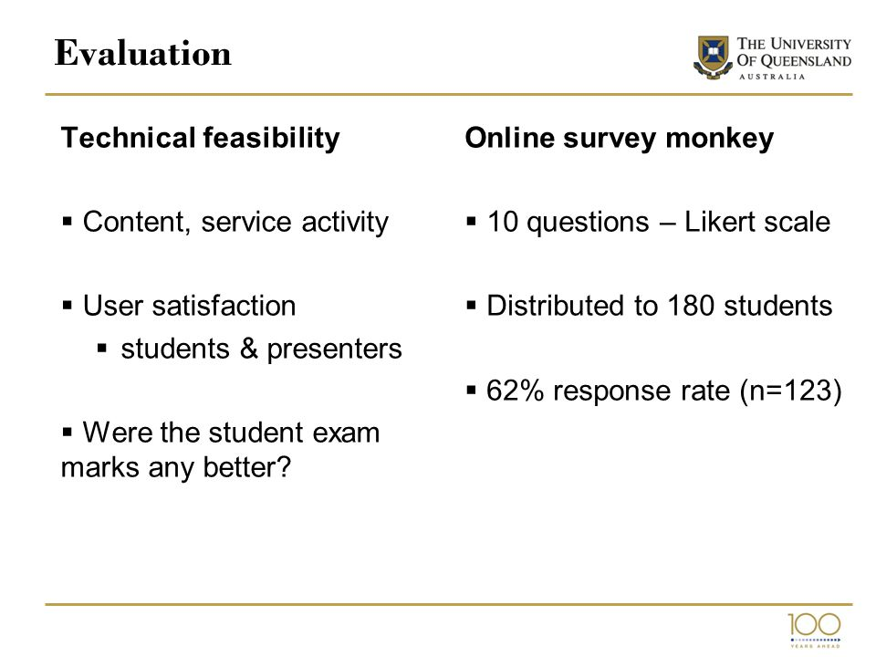 Evaluation Technical feasibility  Content, service activity  User satisfaction  students & presenters  Were the student exam marks any better.
