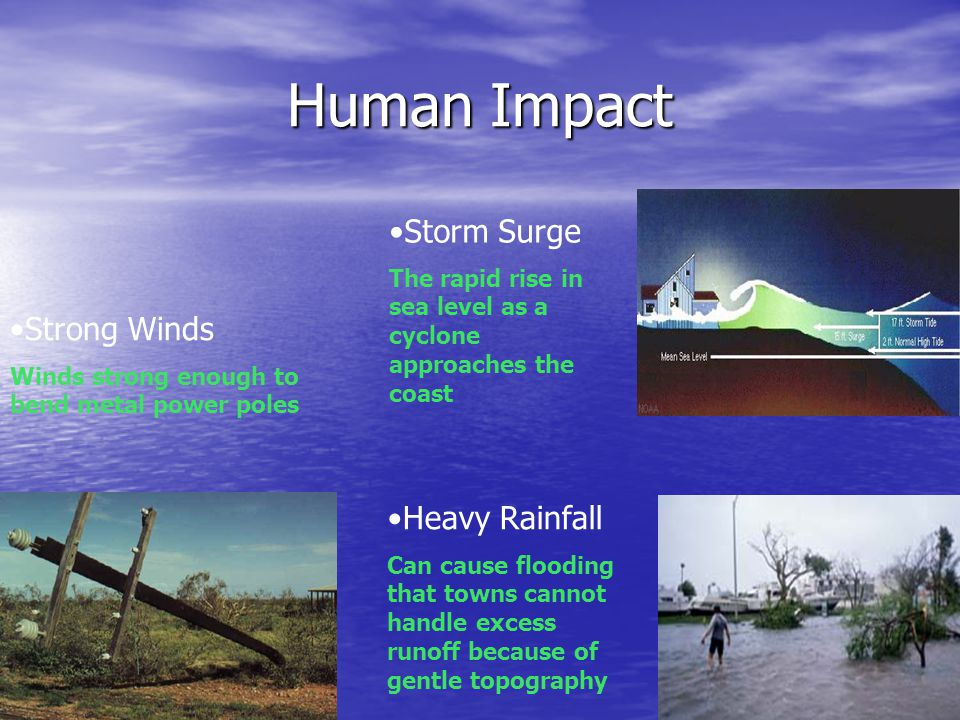 Human Impact Strong Winds Winds strong enough to bend metal power poles Storm Surge The rapid rise in sea level as a cyclone approaches the coast Heav