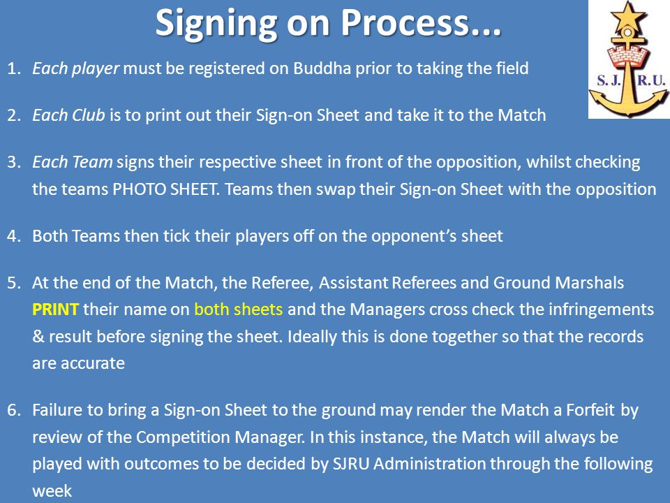 Signing on Process...