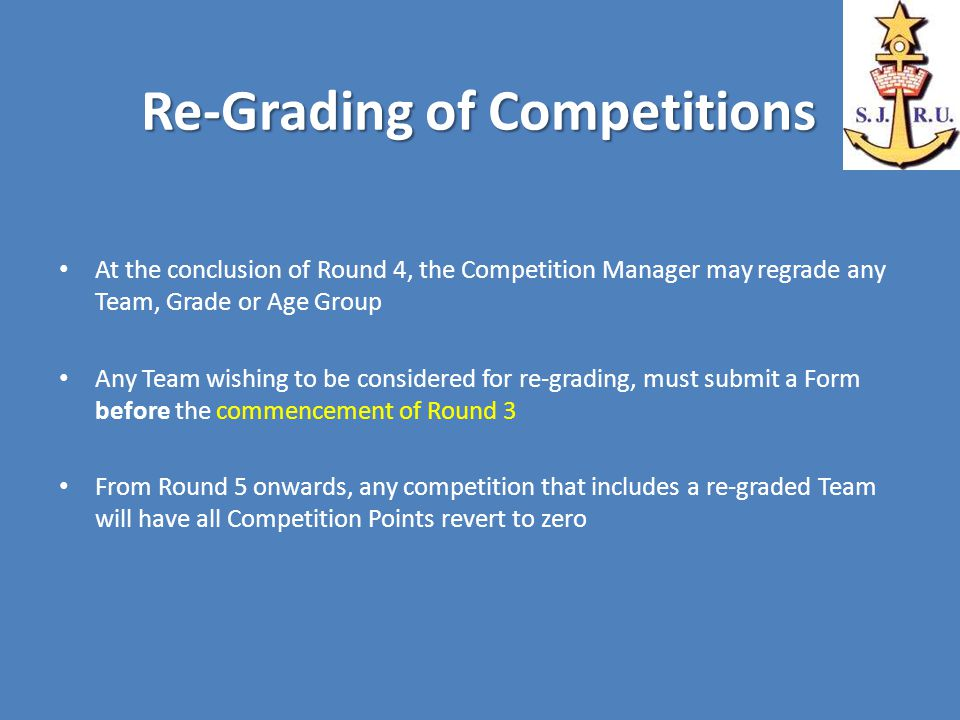 Re-Grading of Competitions At the conclusion of Round 4, the Competition Manager may regrade any Team, Grade or Age Group Any Team wishing to be considered for re-grading, must submit a Form before the commencement of Round 3 From Round 5 onwards, any competition that includes a re-graded Team will have all Competition Points revert to zero