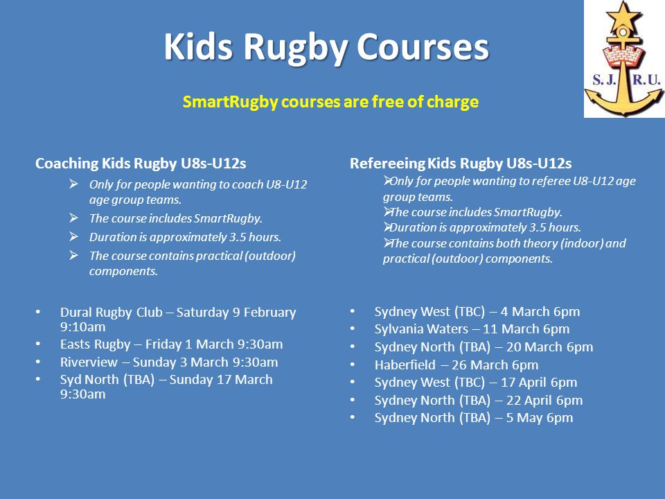 Kids Rugby Courses Kids Rugby Courses SmartRugby courses are free of charge Coaching Kids Rugby U8s-U12s  Only for people wanting to coach U8-U12 age group teams.