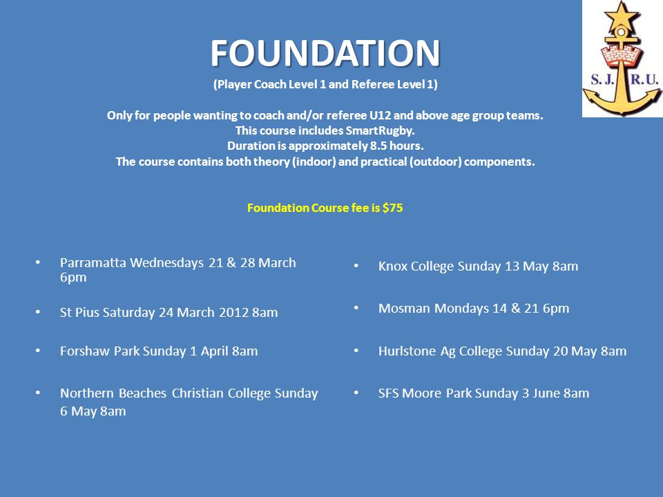FOUNDATION FOUNDATION (Player Coach Level 1 and Referee Level 1) Only for people wanting to coach and/or referee U12 and above age group teams.
