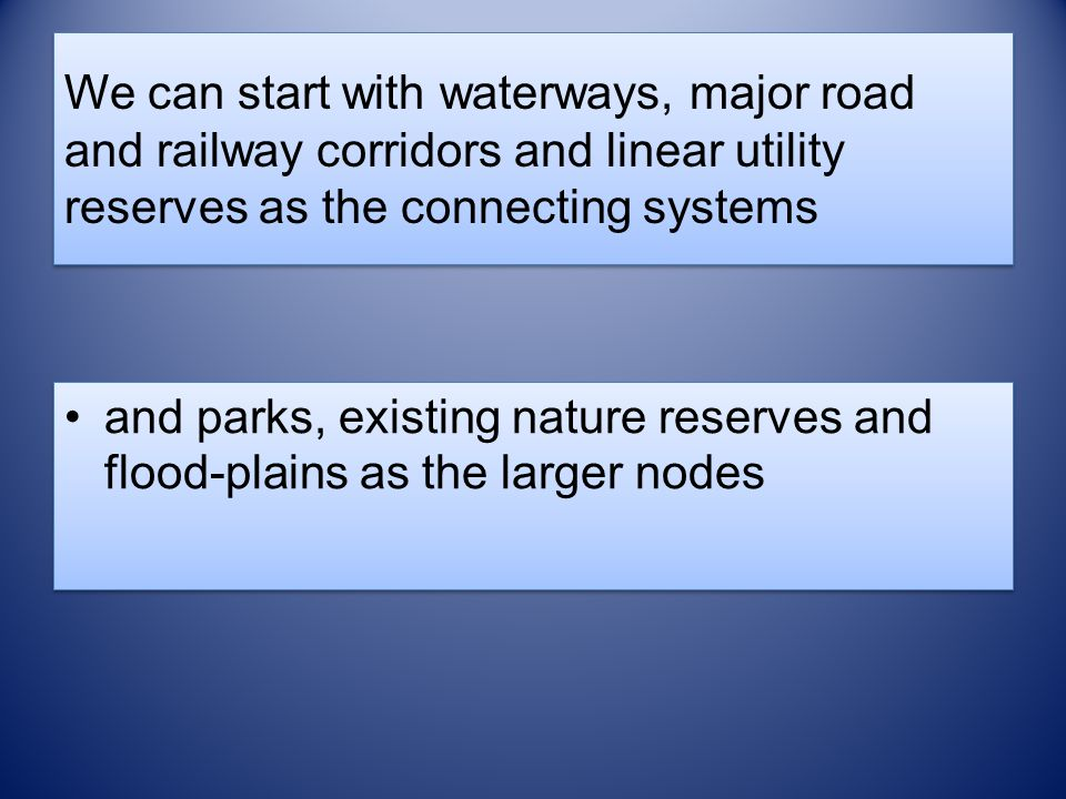 We can start with waterways, major road and railway corridors and linear utility reserves as the connecting systems and parks, existing nature reserve