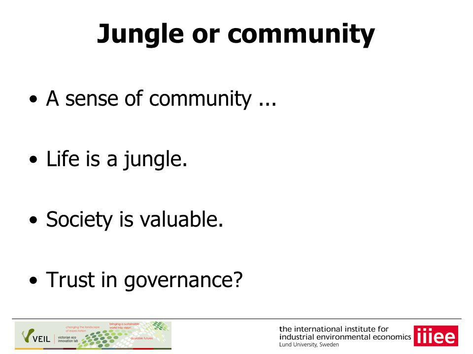 Jungle or community A sense of community... Life is a jungle.
