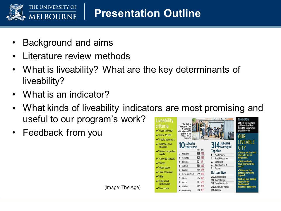 Presentation Outline Background and aims Literature review methods What is liveability.