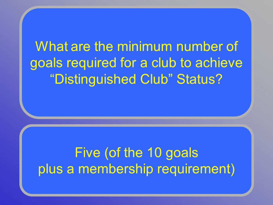 What are the minimum number of goals required for a club to achieve Distinguished Club Status.