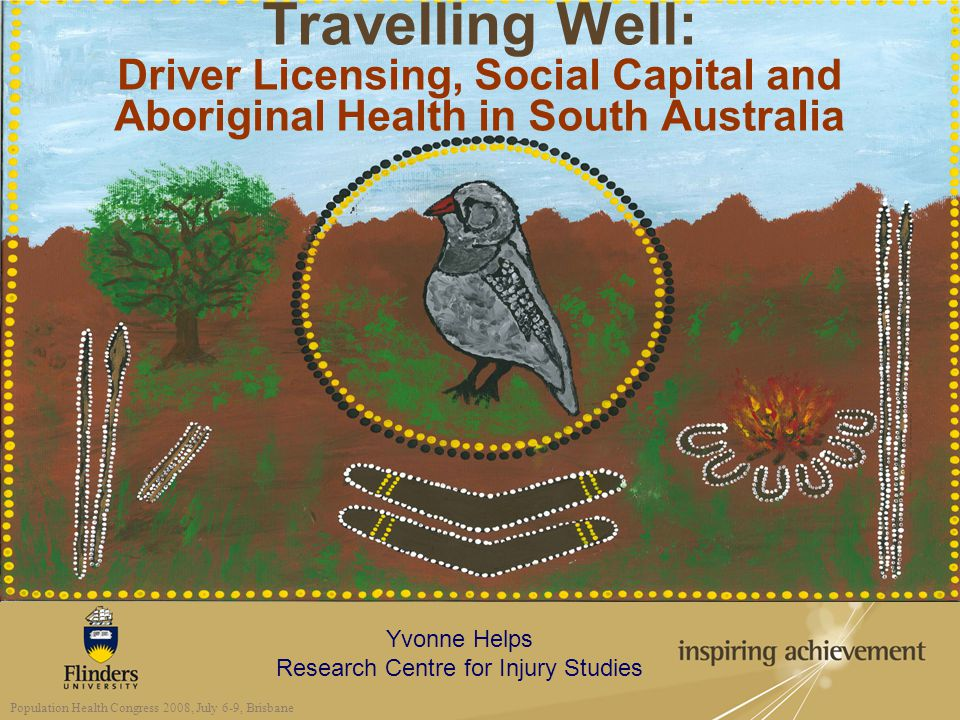 Yvonne Helps Research Centre for Injury Studies Population Health Congress 2008, July 6-9, Brisbane Travelling Well: Driver Licensing, Social Capital