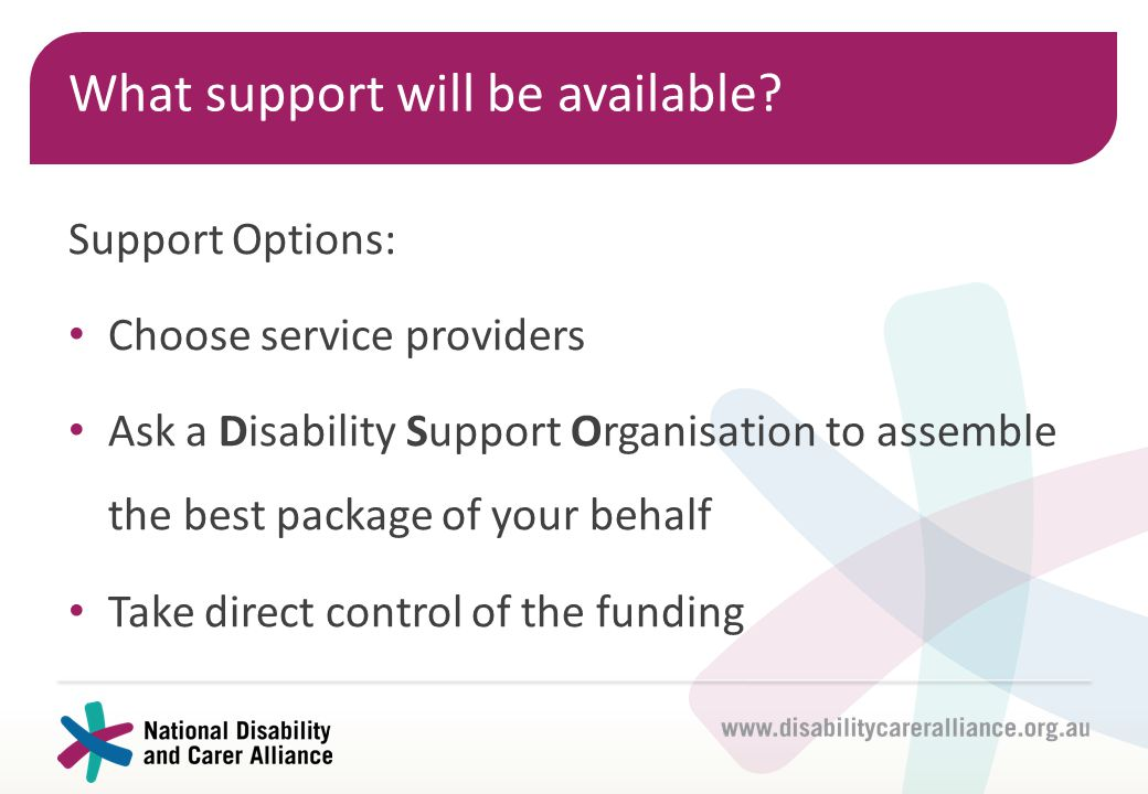 What support will be available? Support Options: Choose service providers Ask a Disability Support Organisation to assemble the best package of your b