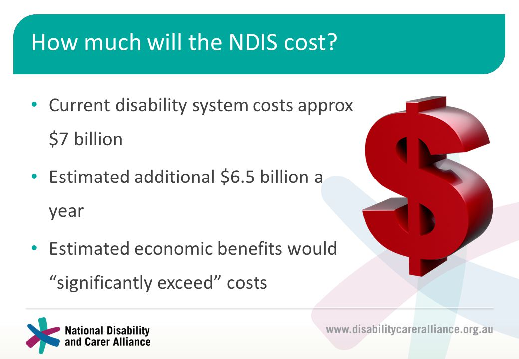 How much will the NDIS cost? Current disability system costs approx $7 billion Estimated additional $6.5 billion a year Estimated economic benefits wo