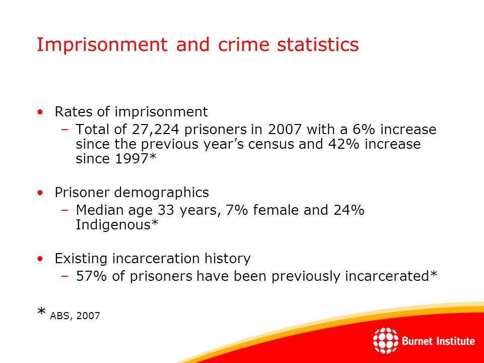 Imprisonment and crime statistics Rates of imprisonment –Total of 27,224 prisoners in 2007 with a 6% increase since the previous year's census and 42%