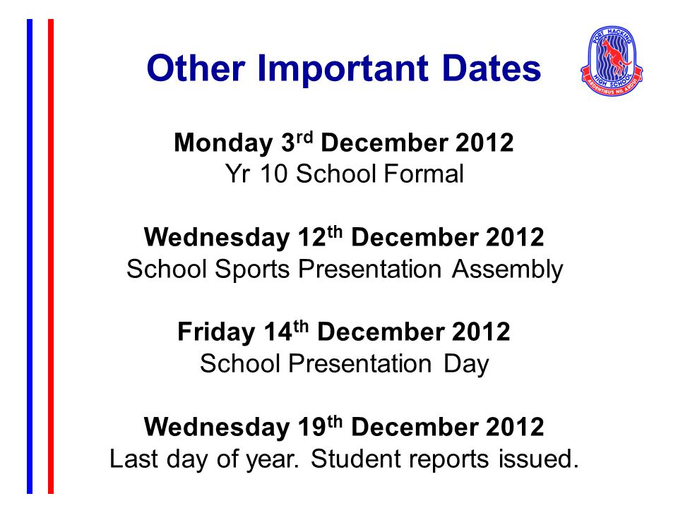 Other Important Dates Monday 3 rd December 2012 Yr 10 School Formal Wednesday 12 th December 2012 School Sports Presentation Assembly Friday 14 th December 2012 School Presentation Day Wednesday 19 th December 2012 Last day of year.