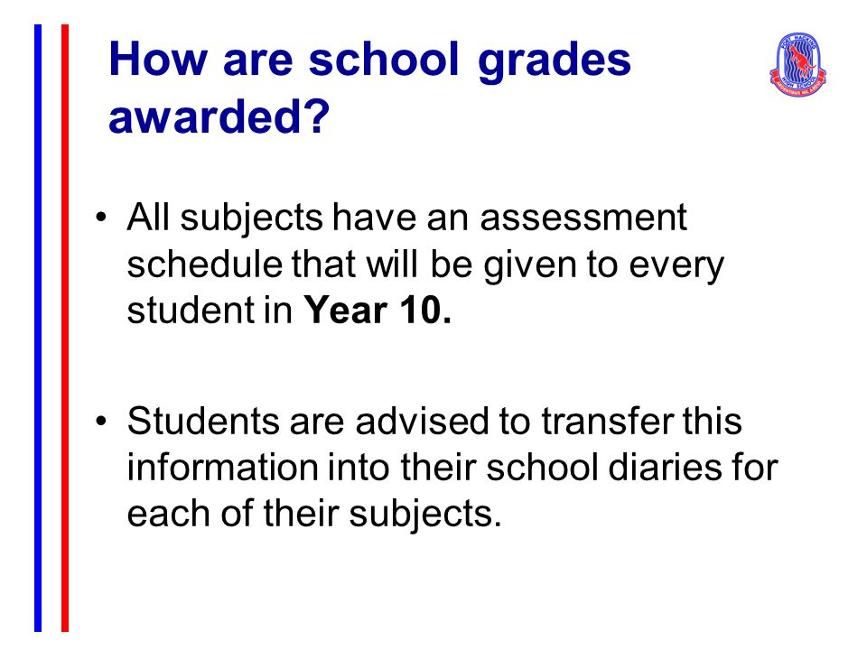 How are school grades awarded.