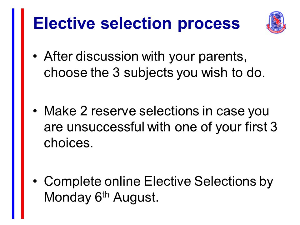 Elective selection process After discussion with your parents, choose the 3 subjects you wish to do.
