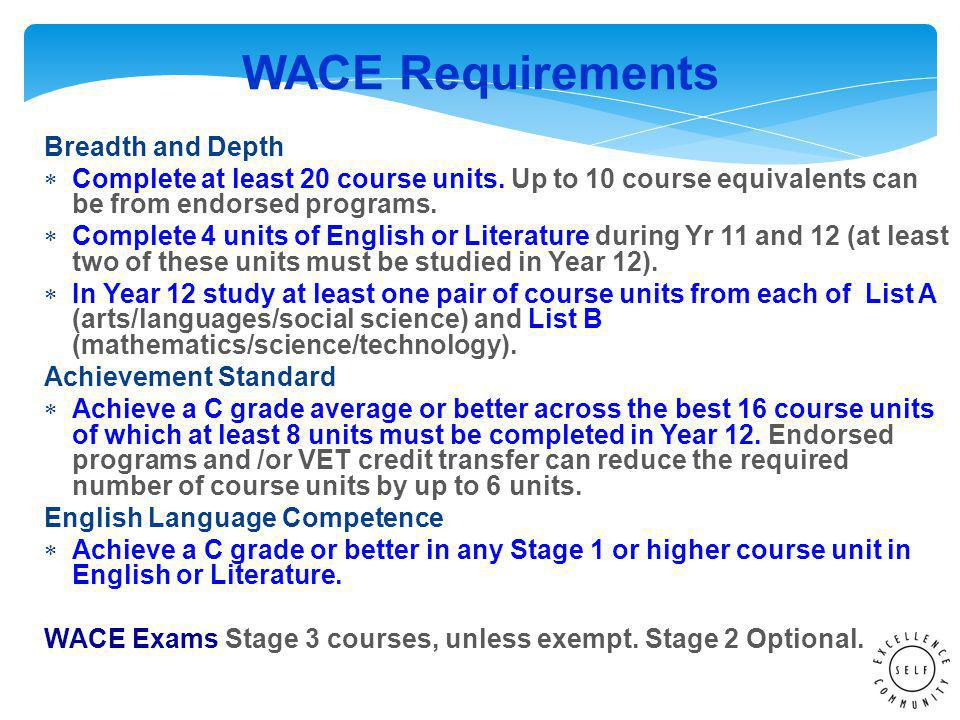 WACE Requirements Breadth and Depth  Complete at least 20 course units.