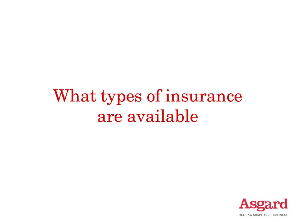 What types of insurance are available