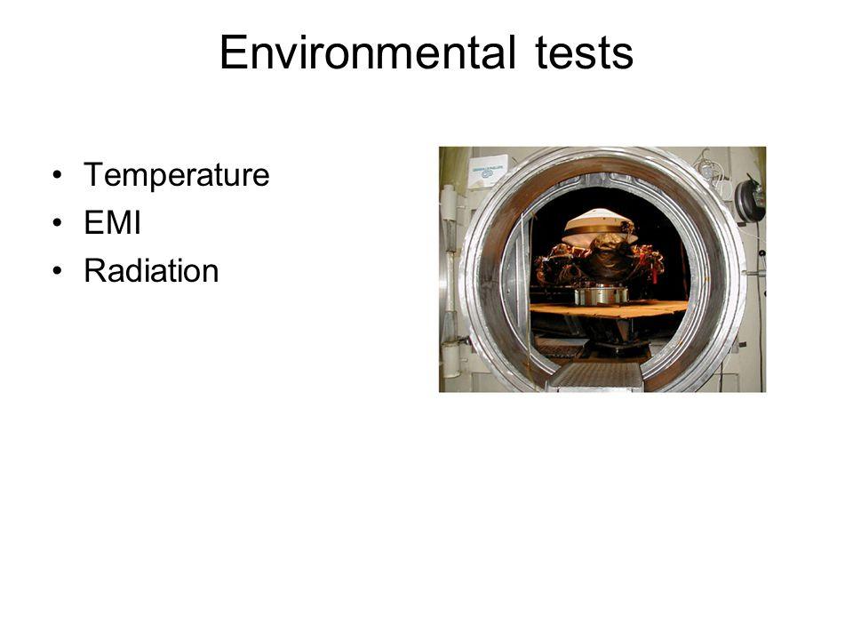 Environmental tests Temperature EMI Radiation