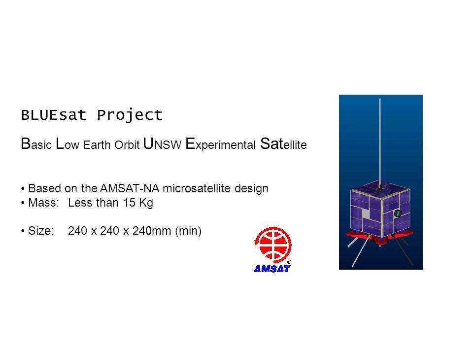 BLUEsat Project B asic L ow Earth Orbit U NSW E xperimental Sat ellite Based on the AMSAT-NA microsatellite design Mass:Less than 15 Kg Size:240 x 240 x 240mm (min)