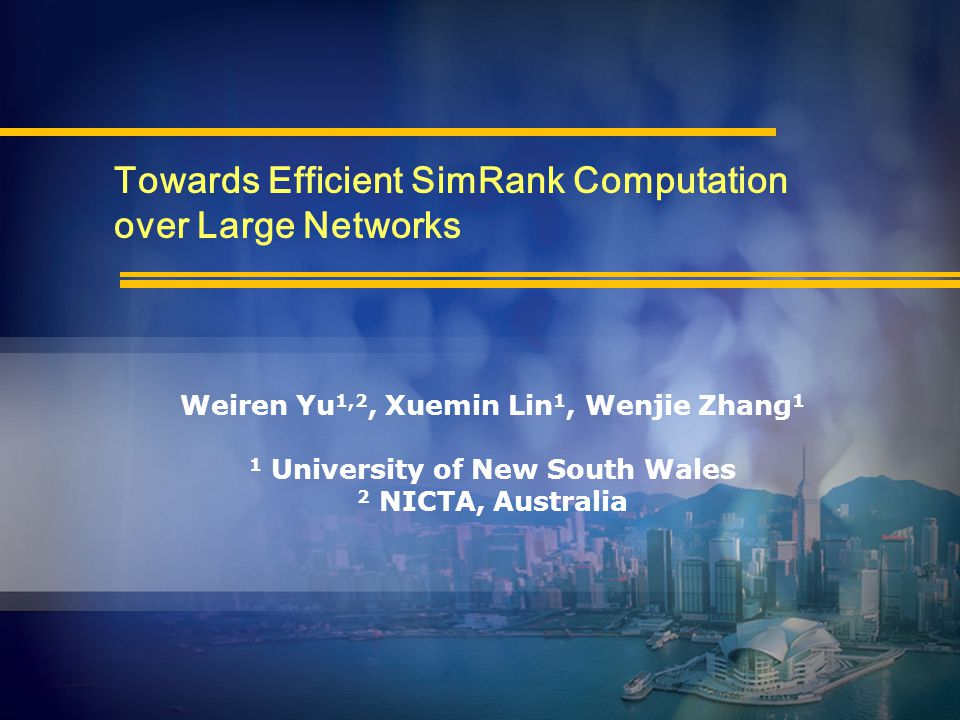 SimRank overview Existing computing method Our approaches Partial Sums Sharing Exponential SimRank Empirical evaluations Conclusions 2Outline