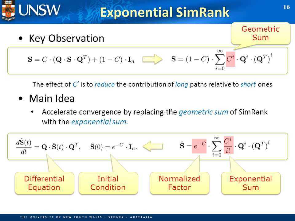 Key Observation The effect of C i is to reduce the contribution of long paths relative to short ones Main Idea Accelerate convergence by replacing the geometric sum of SimRank with the exponential sum.