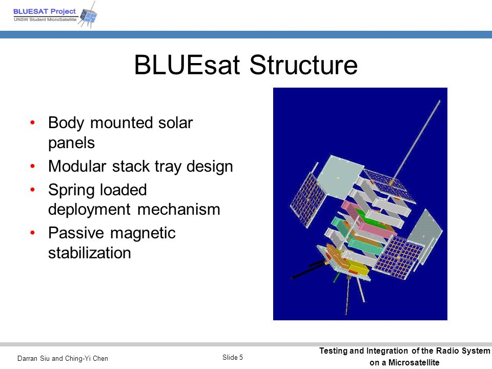 Darran Siu and Ching-Yi Chen Testing and Integration of the Radio System on a Microsatellite Slide 5 BLUEsat Structure Body mounted solar panels Modul