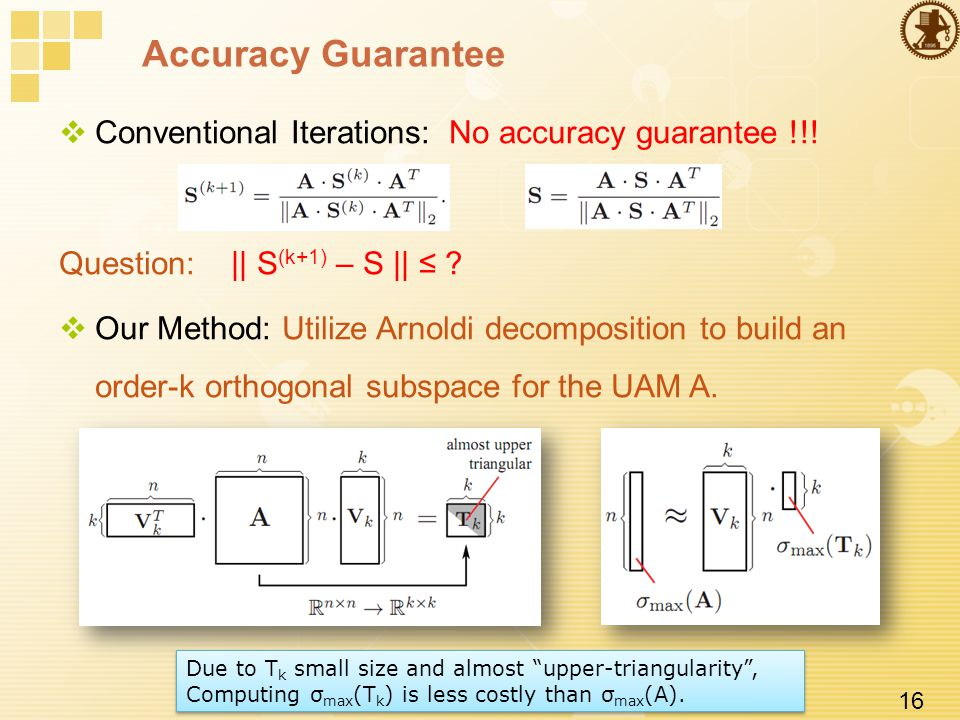 16 Accuracy Guarantee  Conventional Iterations: No accuracy guarantee !!.