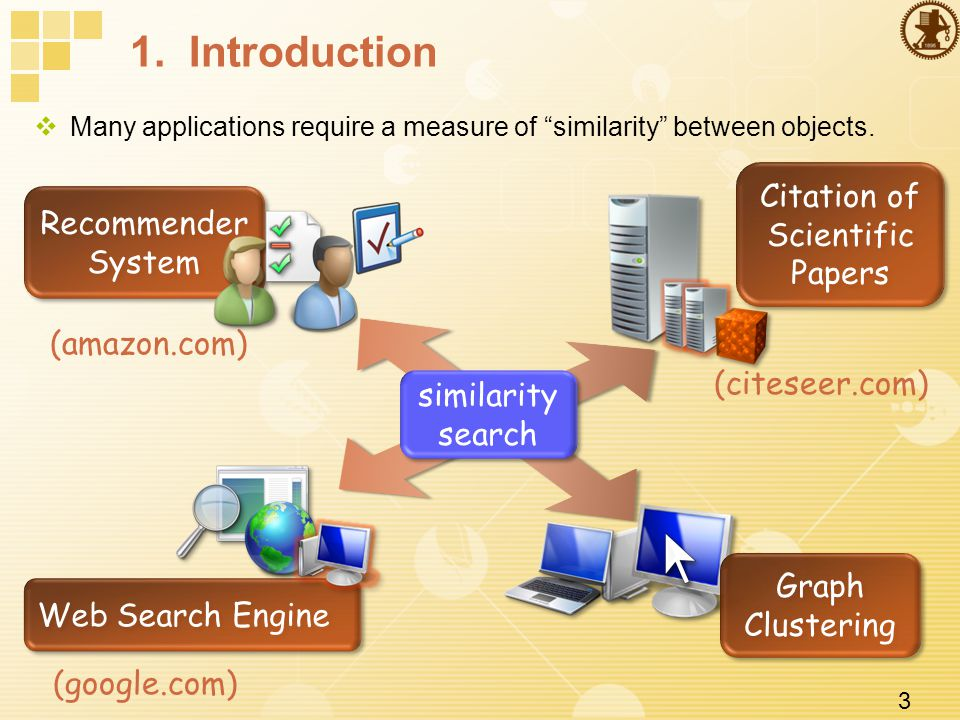 3 1. Introduction  Many applications require a measure of similarity between objects.