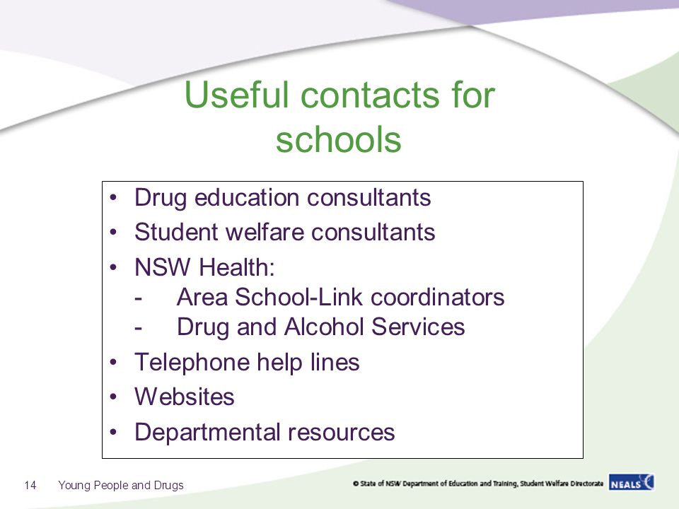 Useful contacts for schools Drug education consultants Student welfare consultants NSW Health: -Area School-Link coordinators -Drug and Alcohol Services Telephone help lines Websites Departmental resources 14 Young People and Drugs