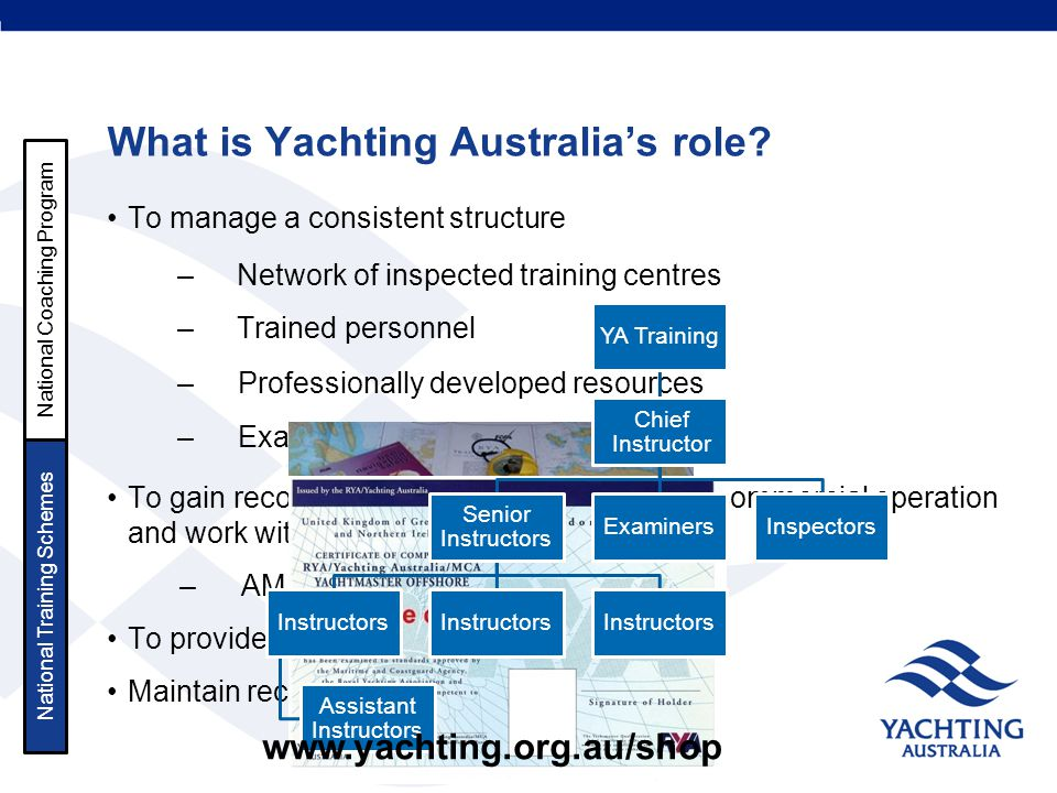What is Yachting Australia's role? To manage a consistent structure To gain recognition for licencing purposes, & commercial operation and work with M