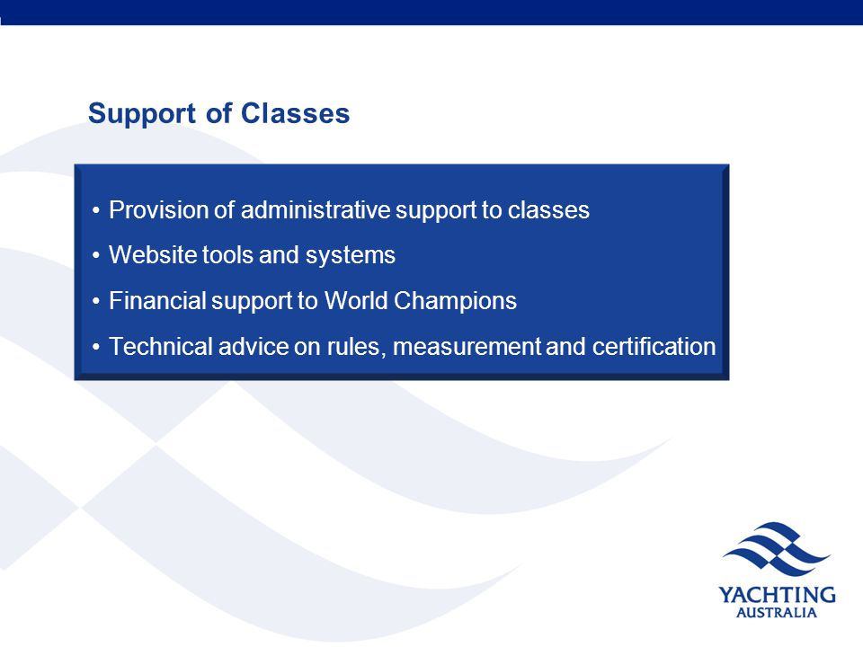 Support of Classes Provision of administrative support to classes Website tools and systems Financial support to World Champions Technical advice on rules, measurement and certification