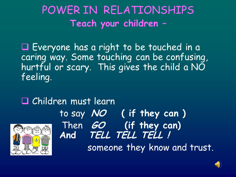 POWER IN RELATIONSHIPS Teach your children –  Everyone has a right to be touched in a caring way.