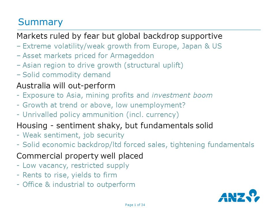 Page 32 of 34 Sources: Property Council/IPD, ANZ Economics and Markets Research, RBA Yields should tighten as sell off was 'overdone' relative to fundamentals Office