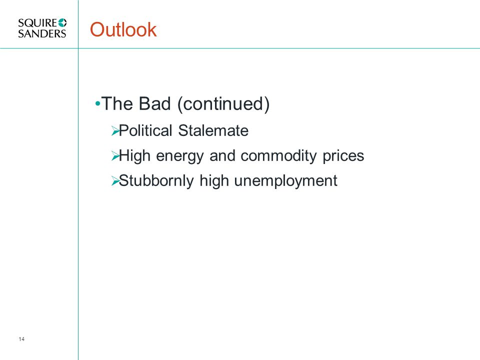 Outlook The Bad (continued)  Political Stalemate  High energy and commodity prices  Stubbornly high unemployment 14