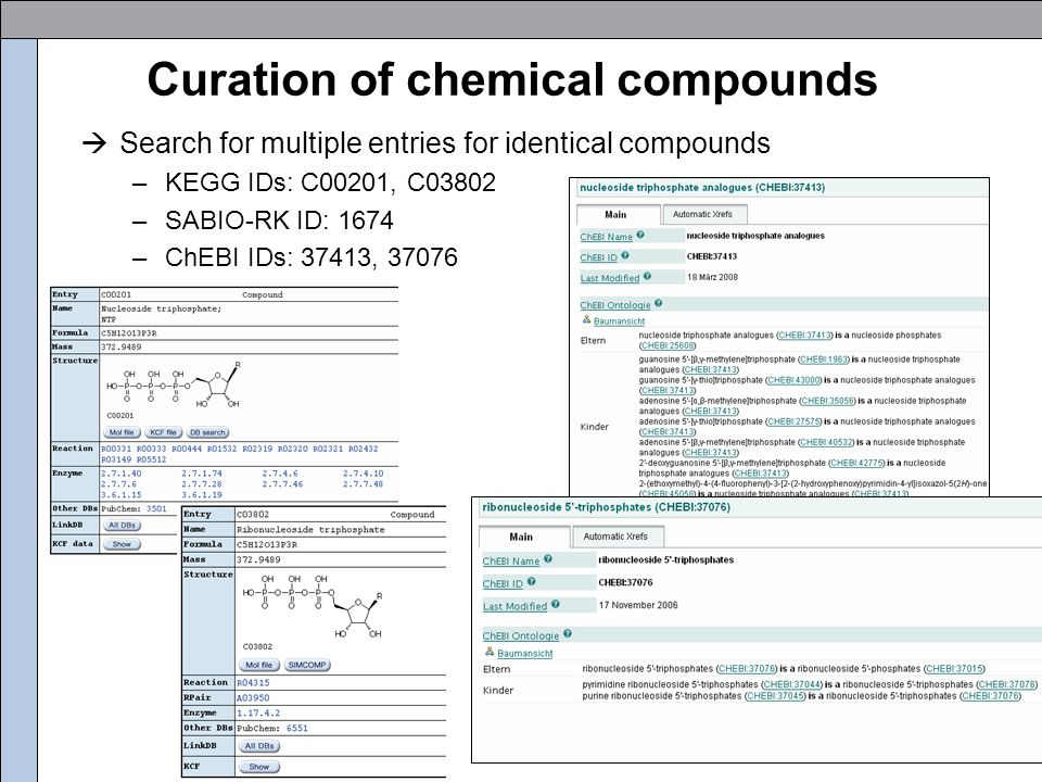 Curation of chemical compounds  Search for multiple entries for identical compounds –KEGG IDs: C00201, C03802 –SABIO-RK ID: 1674 –ChEBI IDs: 37413, 37076