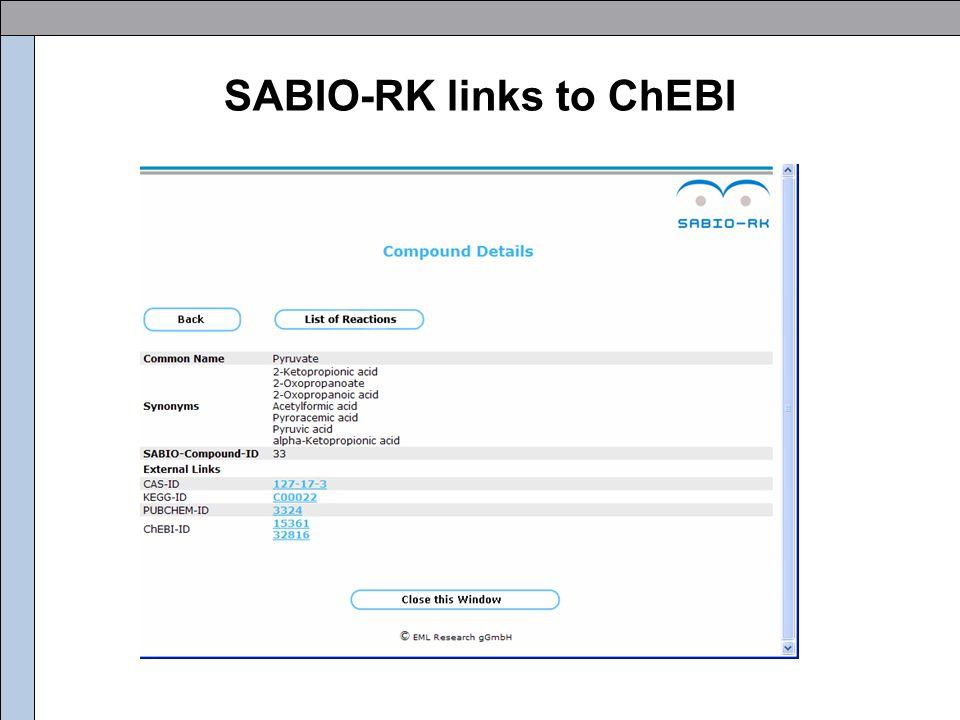 SABIO-RK links to ChEBI