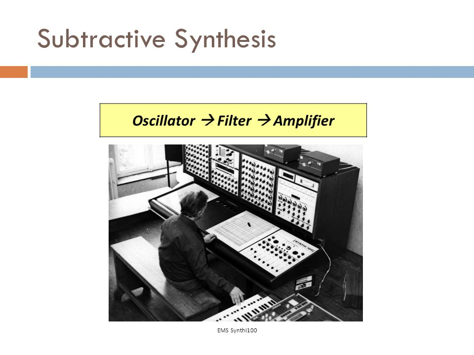 Oscillator  Filter  Amplifier Subtractive Synthesis EMS Synthi100