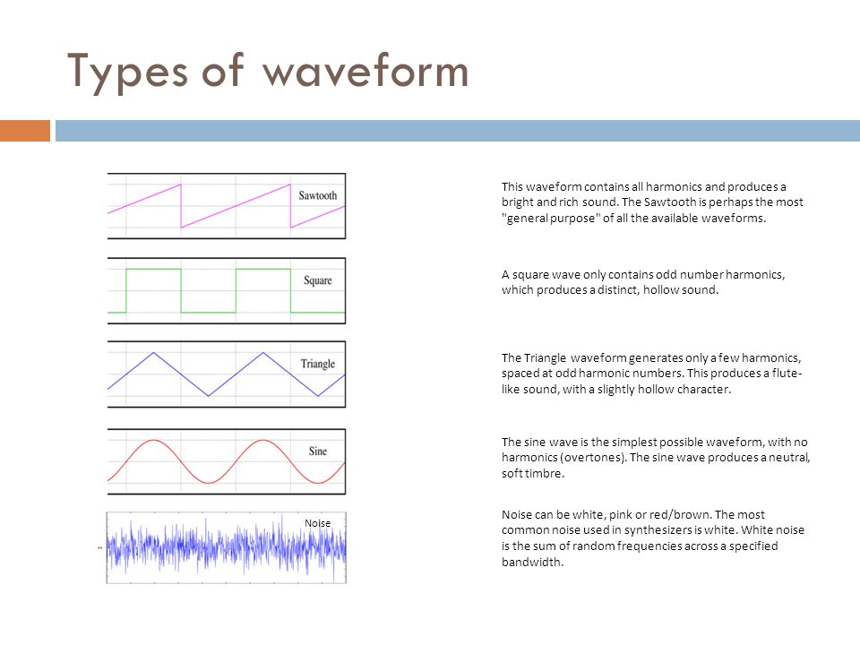 Types of waveform This waveform contains all harmonics and produces a bright and rich sound.