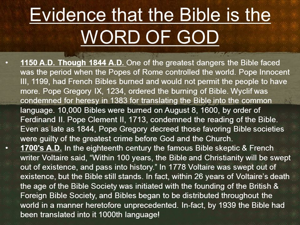 Evidence that the Bible is the WORD OF GOD 1150 A.D.