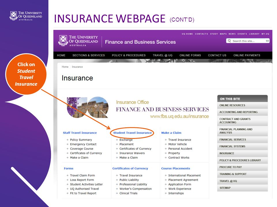 Click on Student Travel Insurance INSURANCE WEBPAGE (CONT'D)