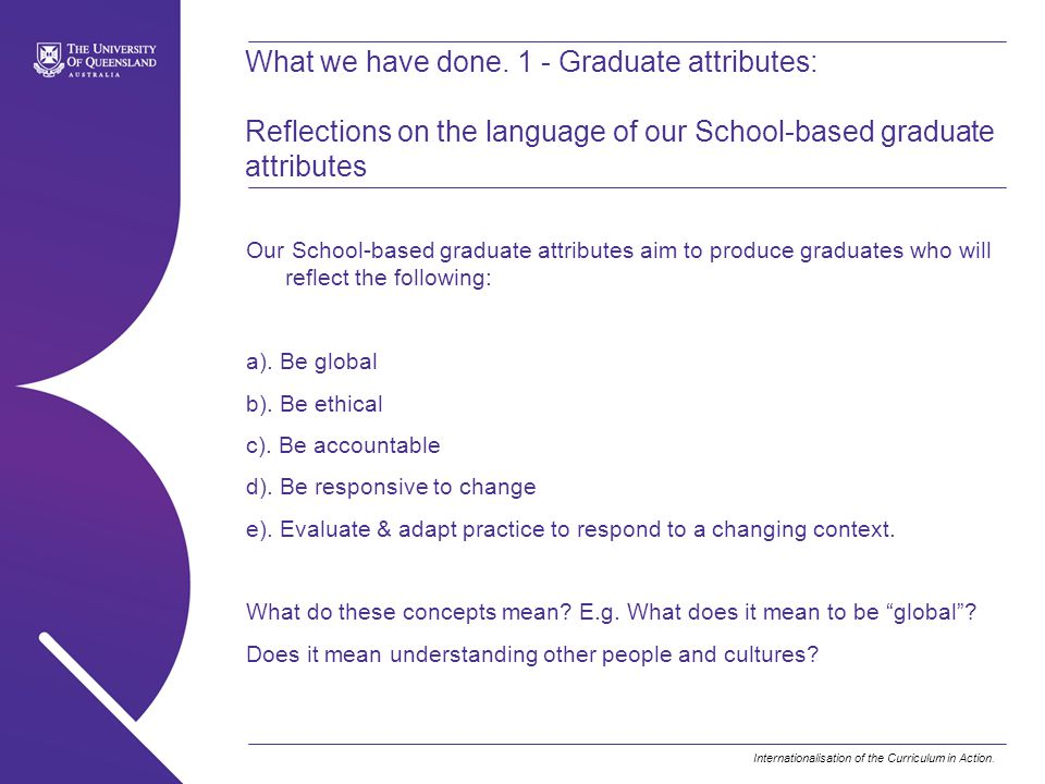 Internationalisation of the Curriculum in Action.What we have done.