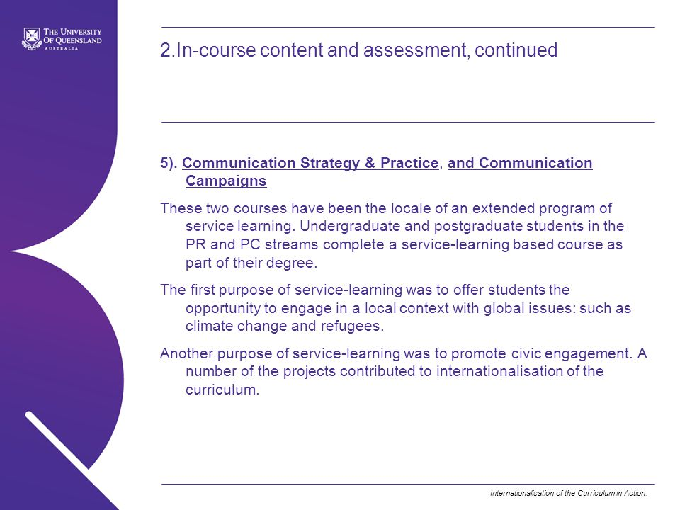 Internationalisation of the Curriculum in Action.2.In-course content and assessment, continued 5).