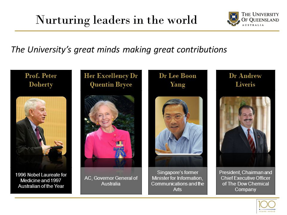 Nurturing leaders in the world Her Excellency Dr Quentin Bryce AC, Governor General of Australia Dr Lee Boon Yang Singapore's former Minister for Information, Communications and the Arts Dr Andrew Liveris President, Chairman and Chief Executive Officer of The Dow Chemical Company The University's great minds making great contributions