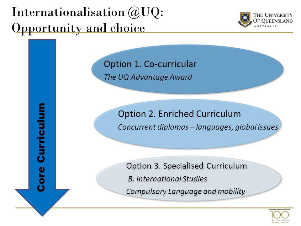 Internationalisation @UQ: Opportunity and choice Option 1.