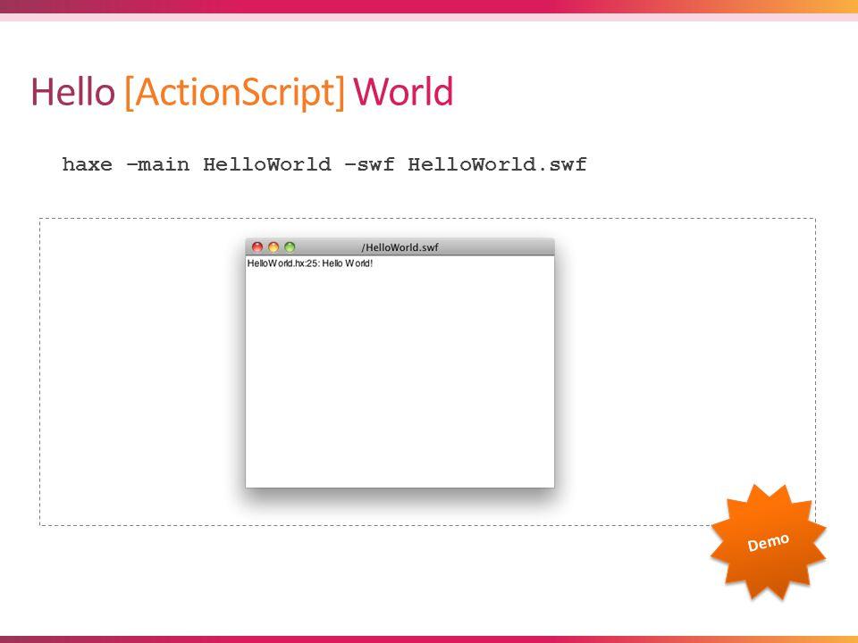 index.html Hello World haxe –main HelloWorld -js HelloWorld.js Demo