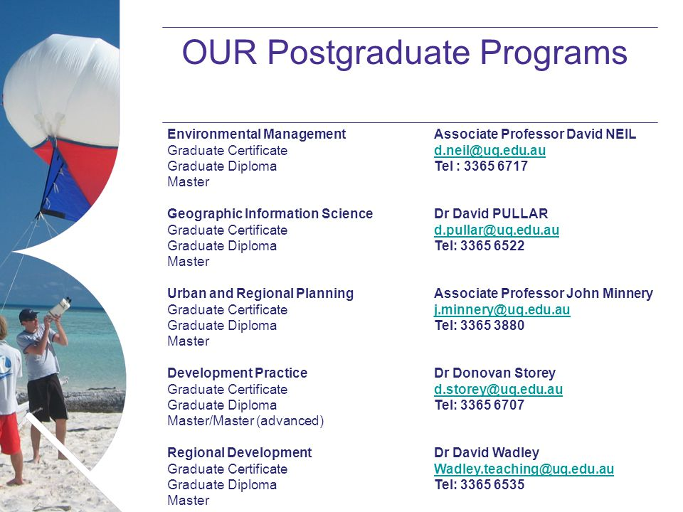 Name of presentation Month 2008 OUR Postgraduate Programs Environmental Management Graduate Certificate Graduate Diploma Master Geographic Information Science Graduate Certificate Graduate Diploma Master Urban and Regional Planning Graduate Certificate Graduate Diploma Master Development Practice Graduate Certificate Graduate Diploma Master/Master (advanced) Regional Development Graduate Certificate Graduate Diploma Master Associate Professor David NEIL d.neil@uq.edu.au Tel : 3365 6717 Dr David PULLAR d.pullar@uq.edu.au Tel: 3365 6522 Associate Professor John Minnery j.minnery@uq.edu.au Tel: 3365 3880 Dr Donovan Storey d.storey@uq.edu.au Tel: 3365 6707 Dr David Wadley Wadley.teaching@uq.edu.au Tel: 3365 6535